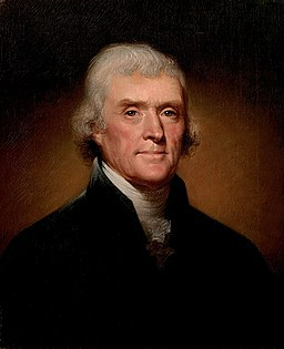 256px Official Presidential portrait of Thomas Jefferson by Rembrandt Peale 1800cropped